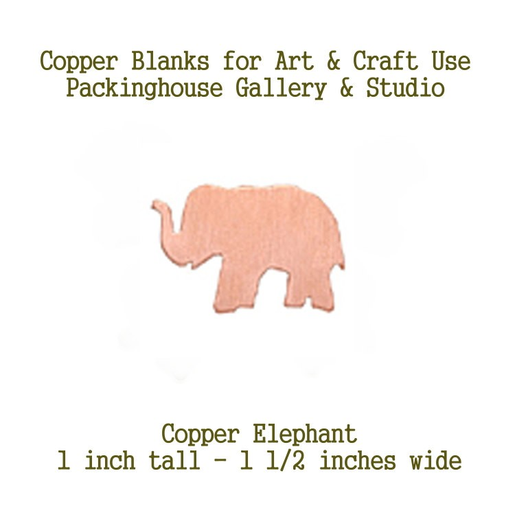 Elephant, Copper Blank Shape, Copper Stamping for metal working, enameling and jewerly making, general crafting for metalsmiths